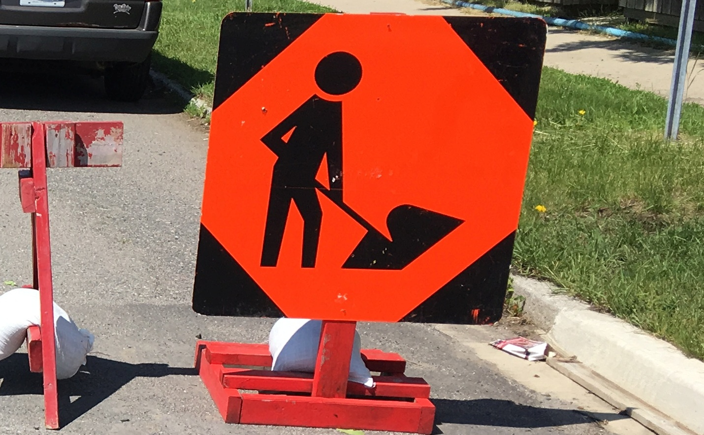 Cropped Road Work Sign
