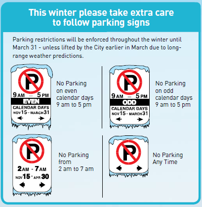 Winter Parking Restrictions Chart
